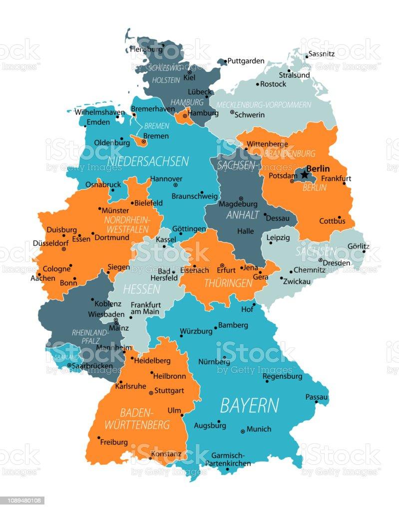 Carte Allemagne De Louest.Carte Allemagne Bleuorange Gris Hautement Detaillees