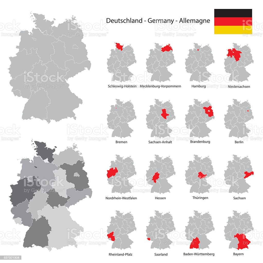 Germany map collection with red marked federal states stock vector map single line world map baden wrttemberg bavaria germany map collection with red marked gumiabroncs Images