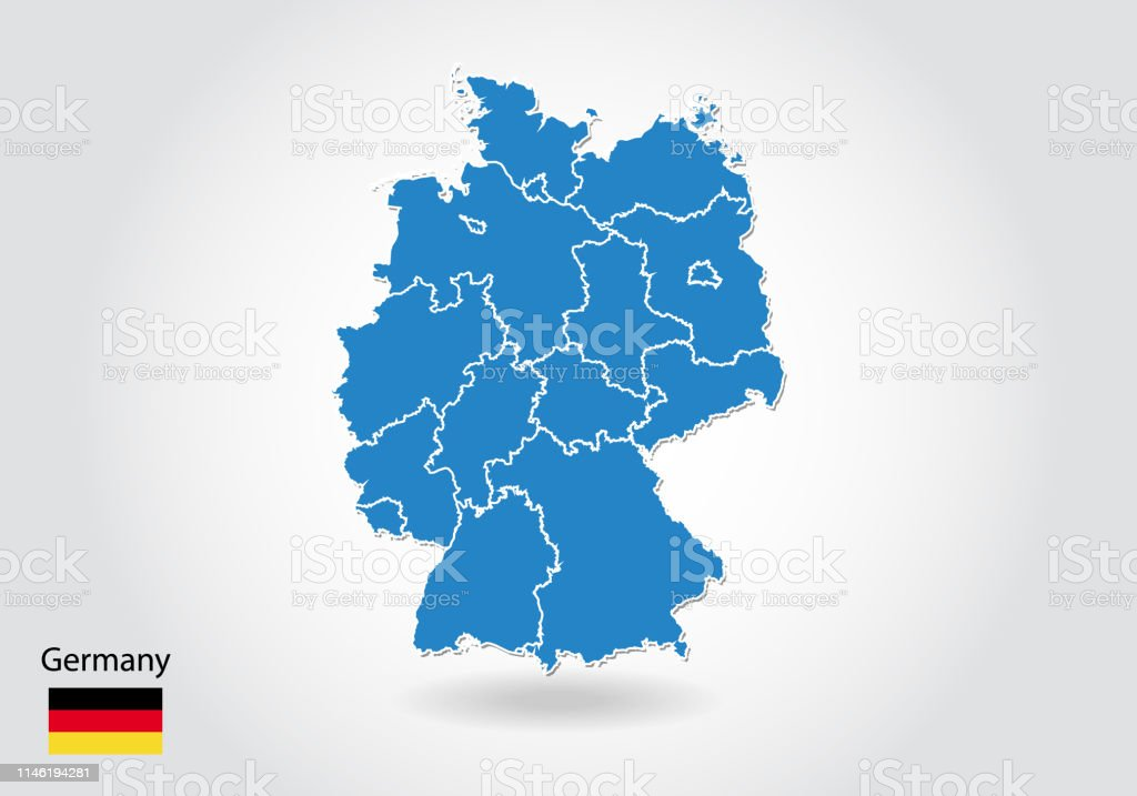 Simple Map Of Germany.Germany Map Design With 3d Style Blue Germany Map And National Flag