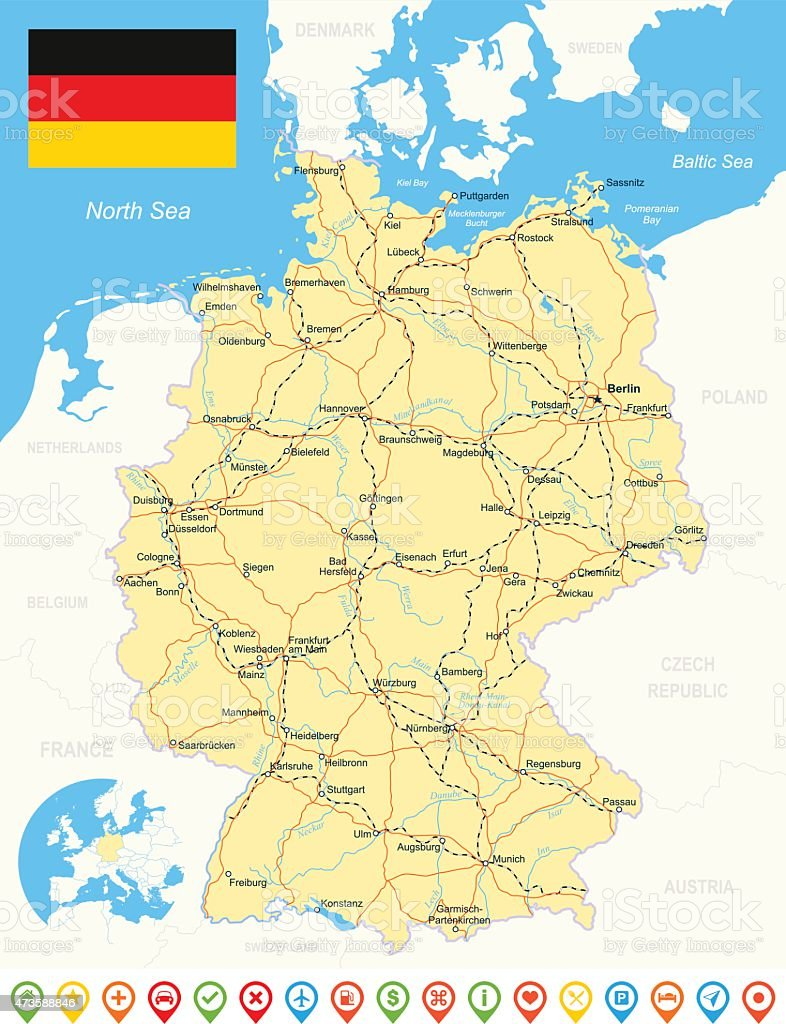 Germany Map Flag Navigation Icons Roads Rivers Illustration Stock