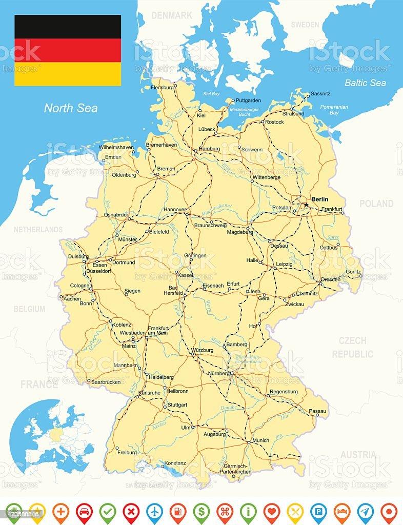 Germany map, flag, navigation icons, roads, rivers - illustration vector art illustration