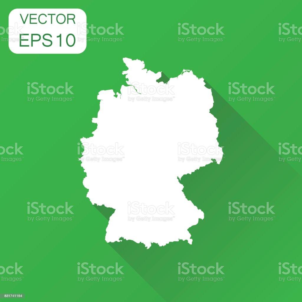 Ícone do mapa de Alemanha. Esboço de conceito de cartografia do negócio pictograma da Alemanha. Ilustração vetorial sobre fundo verde com sombra longa. - ilustração de arte em vetor