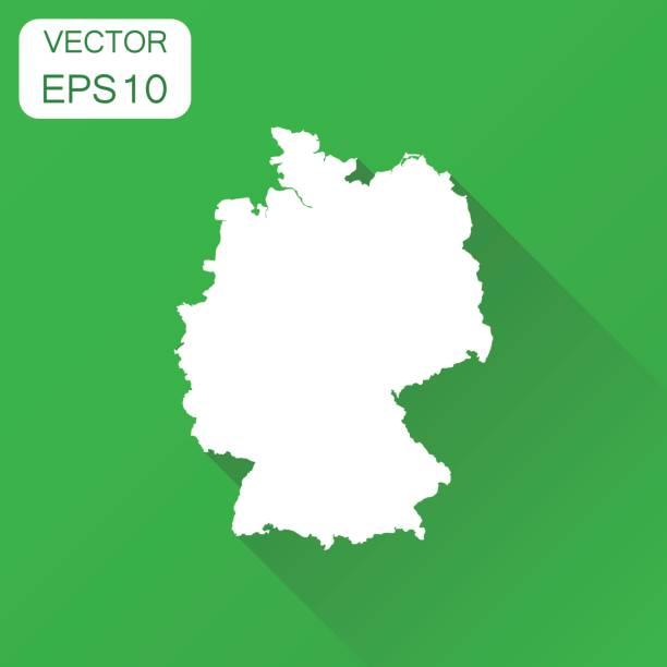 독일 지도 아이콘입니다. 비즈니스 지도 제작 개념 개요 독일 그림입니다. 긴 그림자와 녹색 배경에 벡터 일러스트입니다. - 독일 stock illustrations