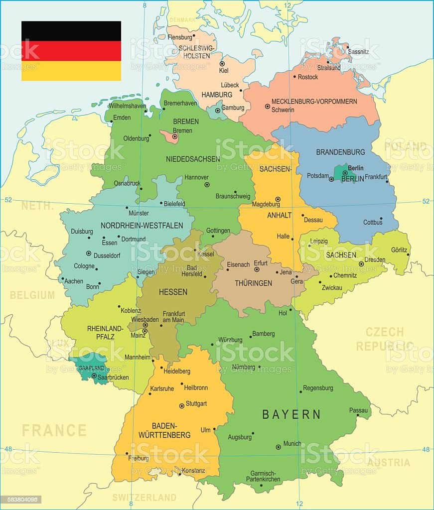Germany Map Illustration Stock Vector Art IStock - Germany map dortmund