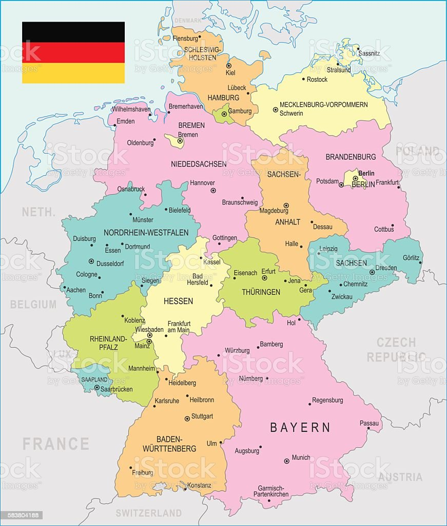 Germany Map Illustration Stock Vector Art More Images Of Bavaria
