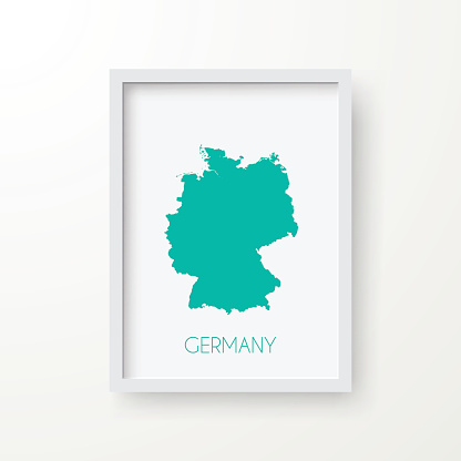 Germany Map in Frame on White Background