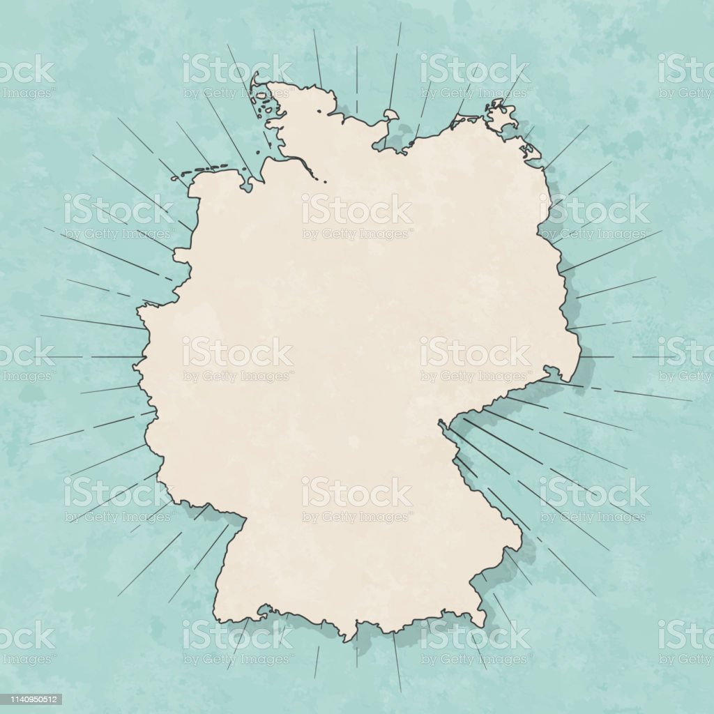 Map of Germany in a trendy vintage style. Beautiful retro...