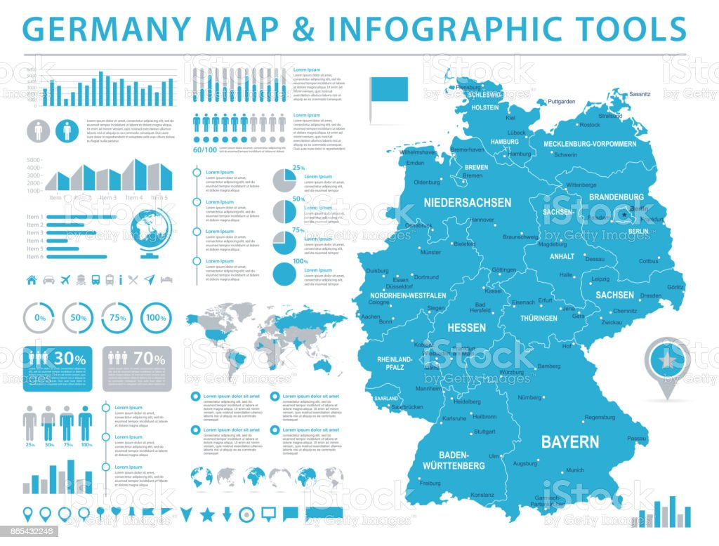 Map Of Germany 2000.Germany Map Info Graphic Vector Illustration Stock Illustration
