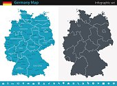 Vector maps of the Germany with variable specification and icons