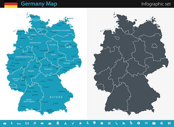 Germany Map - Infographic Set Vector maps of the Germany with variable specification and icons germany stock illustrations