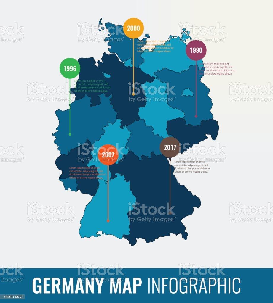 Alemania mapa infográfico la plantilla. Todas las regiones son seleccionables. Vector de - ilustración de arte vectorial