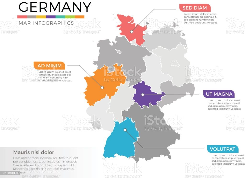 Germany Map Infographics Vector Template With Regions And Pointer