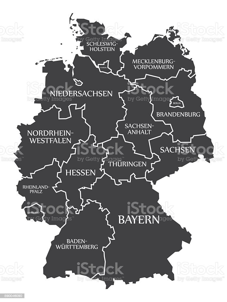 Germany Map labelled black - Illustration vectorielle