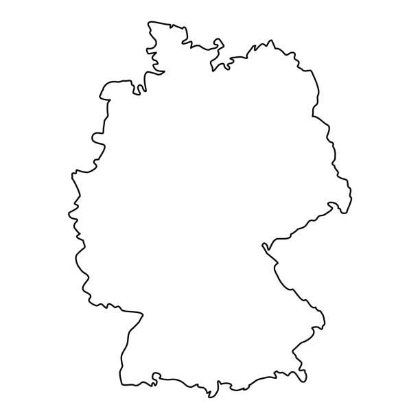 niemcy mapa linii kontur wektor - niemcy stock illustrations