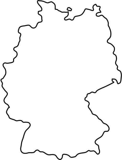 mapa niemiec czarnych krzywych konturowych ilustracji wektorowej - niemcy stock illustrations