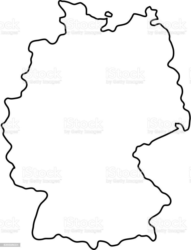 Germany map of black contour curves of vector illustration vector art illustration