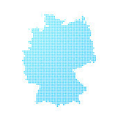 Germany map of blue dots on white background