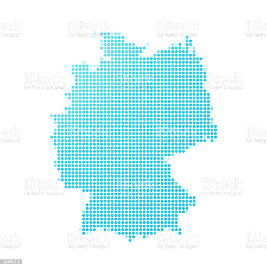 Mapa de Alemanha de pontos azuis no fundo branco - ilustração de arte em vetor