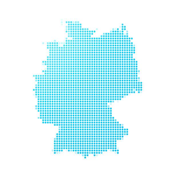 흰색 바탕에 파란색 점의 독일 지도 - 독일 stock illustrations