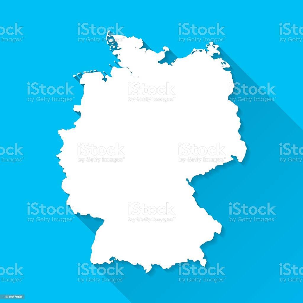 Allemagne la carte sur fond bleu, Long ombre, Design plat - Illustration vectorielle