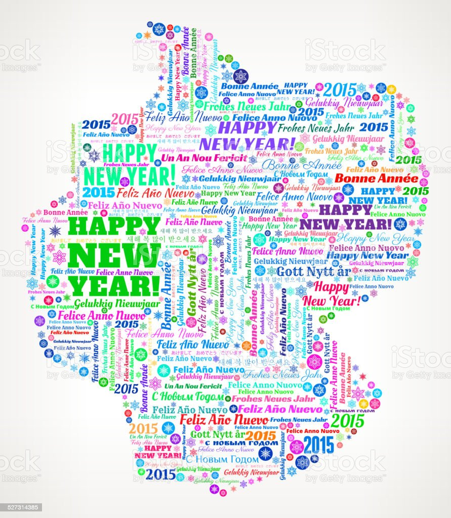 Germany Map On International New Year Wordcloud Pattern Stock - Germany map by year