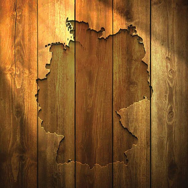 ilustrações de stock, clip art, desenhos animados e ícones de alemanha mapa na luz fundo de madeira - berlin wall
