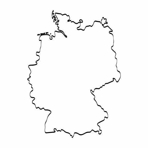 Alemanha mapa contorno gráfico desenho à mão livre sobre fundo branco. Ilustração vetorial - ilustração de arte em vetor