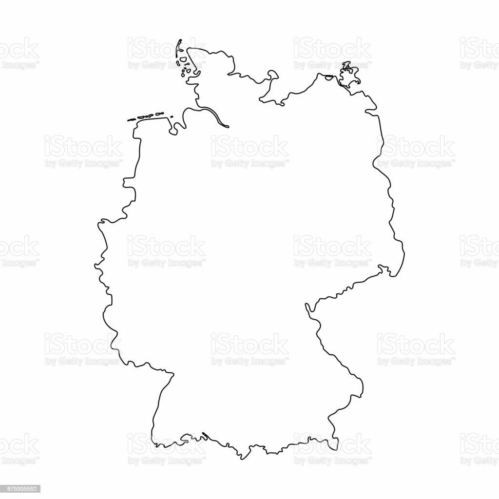 Carte Allemagne Noir Et Blanc.Allemagne Carte Graphique Dessin A Main Levee En Lignes Sur