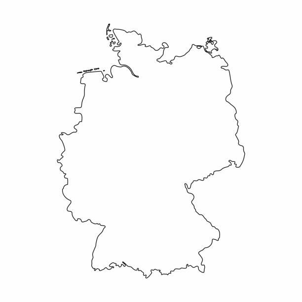 Alemania mapa gráfico dibujo a mano alzada de esquema sobre fondo blanco. Ilustración de vector - ilustración de arte vectorial