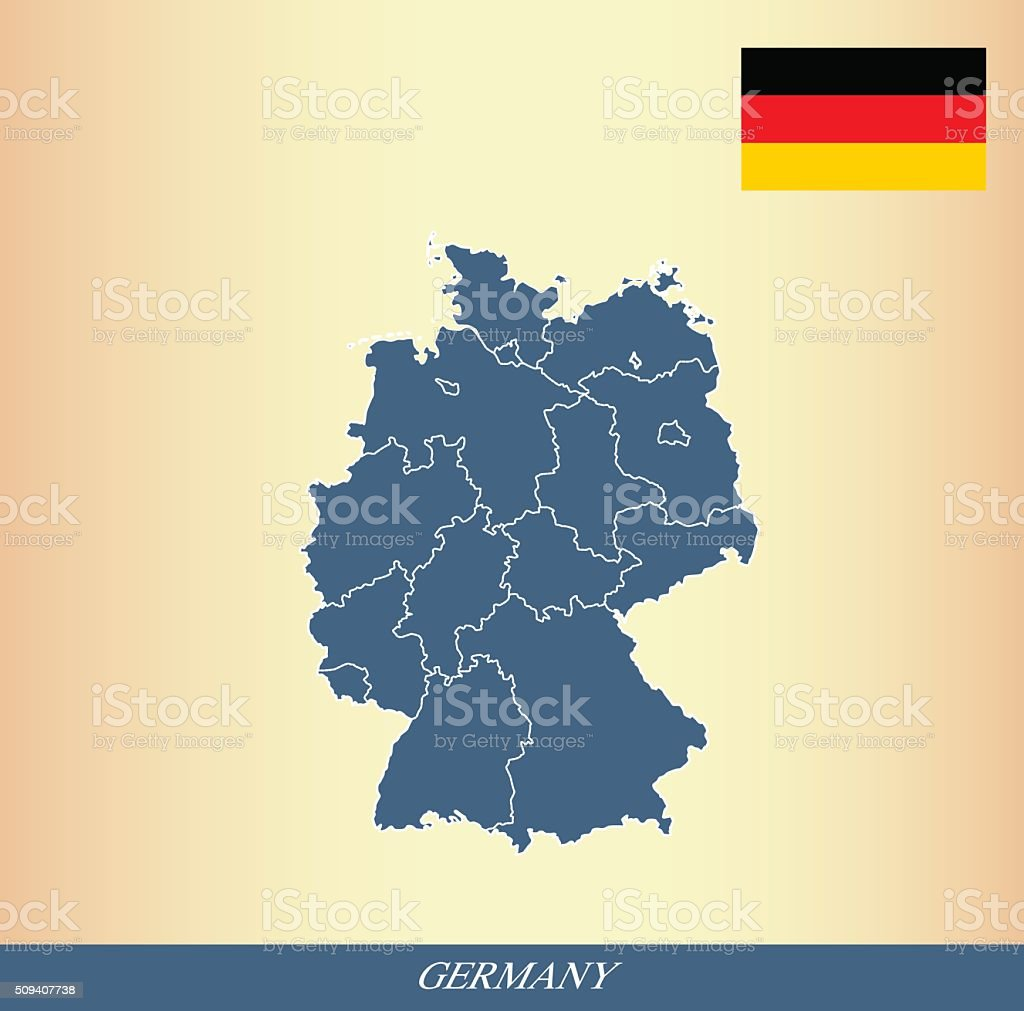 Germany map outline vector and Germany flag vector outline vector art illustration