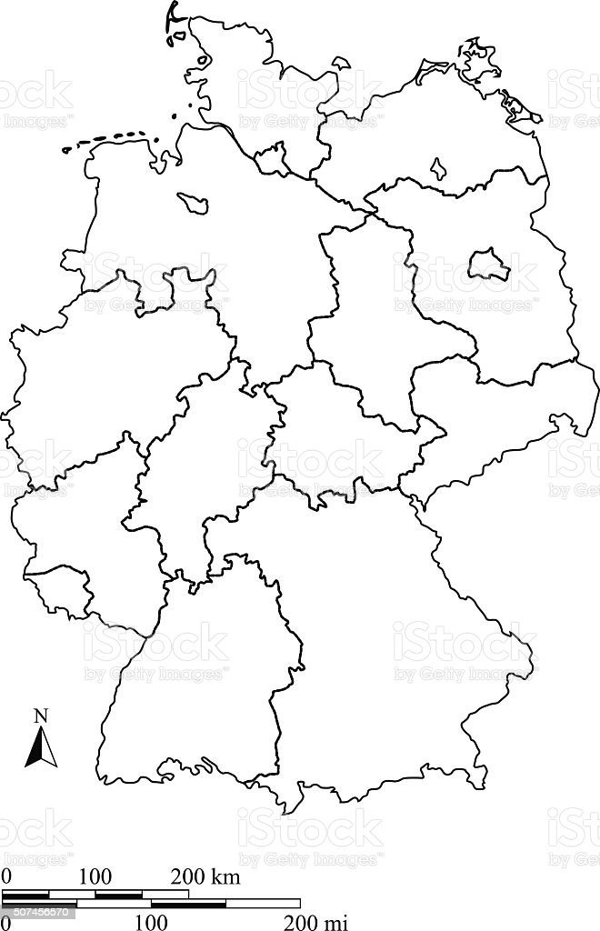 Germany Map Outline Vector With Scales In A Blank Design Stock - Germany map drawing