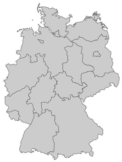niemcy mapa - prowincje szare - niemcy stock illustrations