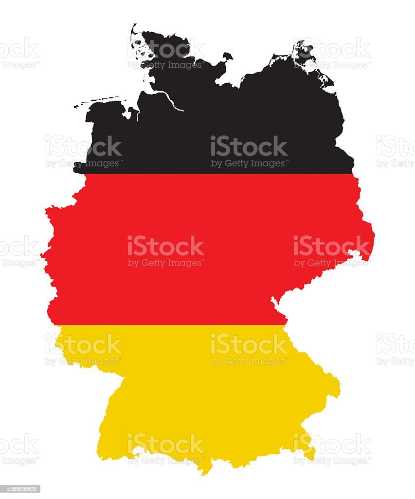 germany map sihouette, flag colors, high detailed