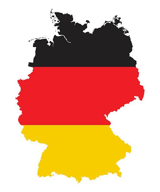 Alemania mapa sihouette, bandera colores, de alta detallada - ilustración de arte vectorial