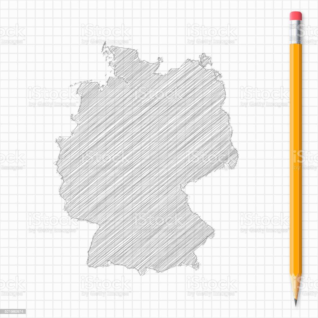 deutschlandkarte skizze Deutschlandkarte Skizze Mit Bleistift Auf Raster Papier Stock