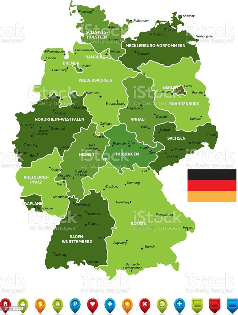 Germany Map Stock Vector Art More Images of Bavaria 517162268 iStock