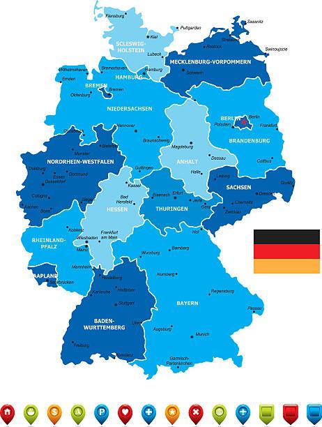 Mapa de Alemania - ilustración de arte vectorial
