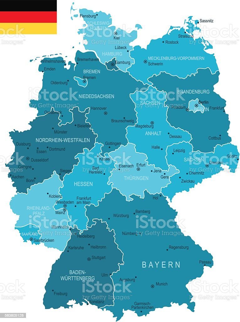 Germany Map Stock Vector Art More Images Of Bavaria 583805128 Istock
