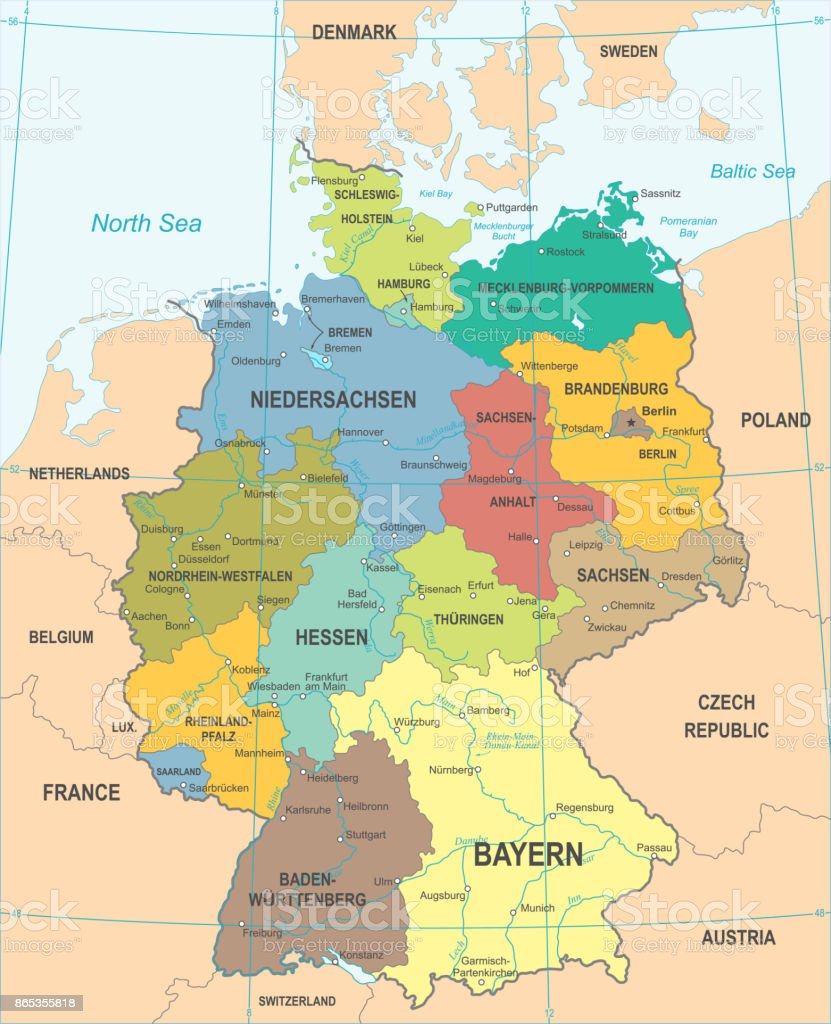 Germany Map Berlin.Germany Map Vector Illustration Stock Vector Art More Images Of