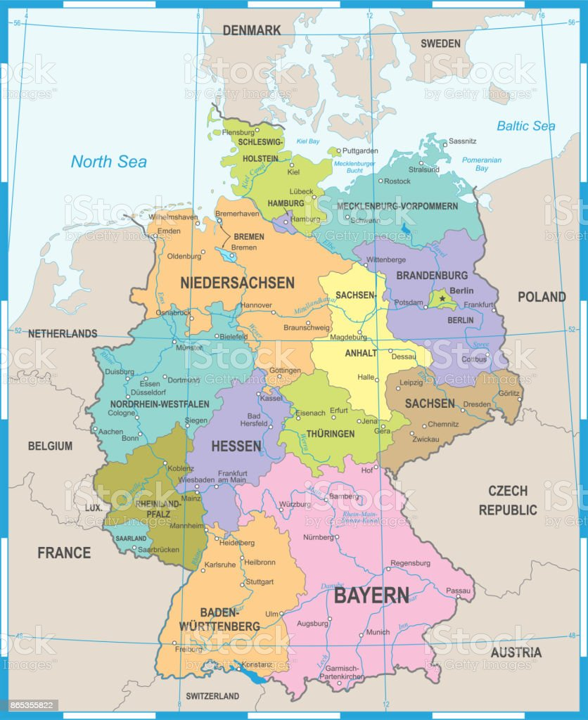 Germany Map - Vector Illustration vector art illustration