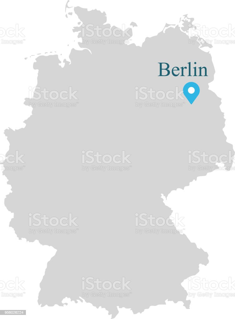 Capital Of Germany Map.Germany Map Vector Outlines Illustration With Capital Location