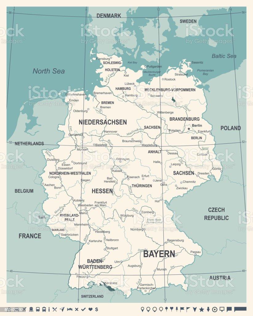 germany map vintage vector illustration royalty free germany map vintage vector illustration stock vector
