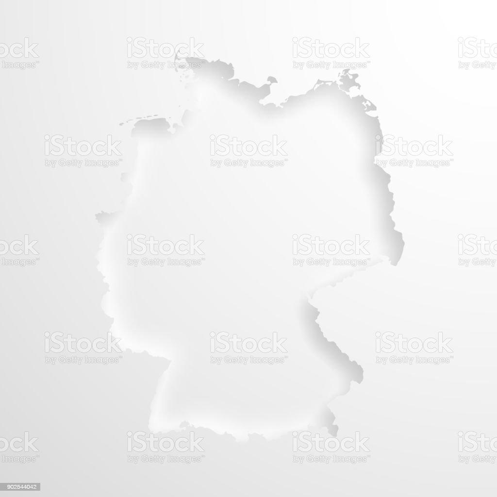Mapa da Alemanha com efeito papel gravado no fundo em branco - ilustração de arte em vetor