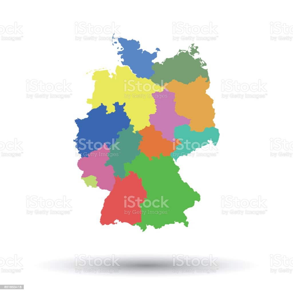 germany map with federal states icon flat vector illustration germany sign symbol with shadow