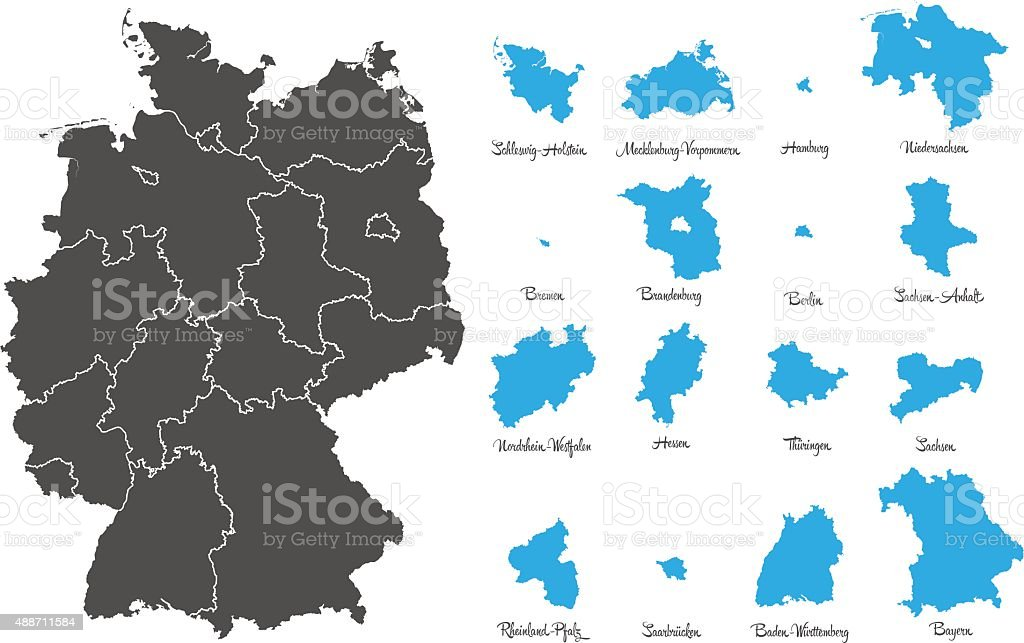 Germany Map With Federal States Vector Set Stock Vector Art - Germany map states