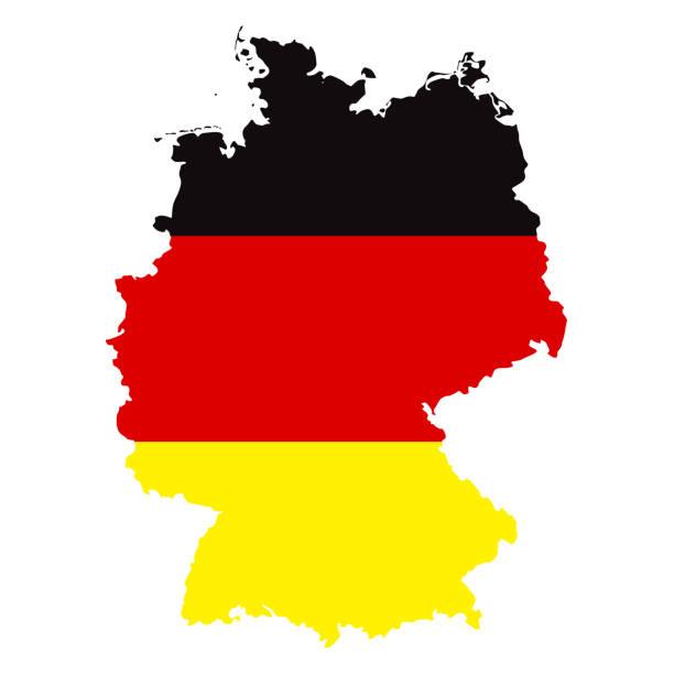 mapa niemiec z flagą infographic vector - niemcy stock illustrations