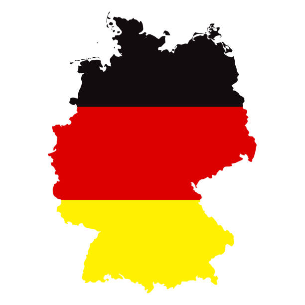Germany Map with Flag Infographic Vector Germany Map with Flag Infographic Vector germany stock illustrations