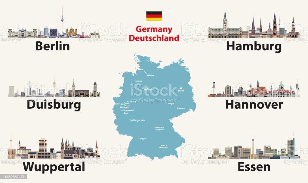 Germany map with largest cities skylines icons. Vector illustration
