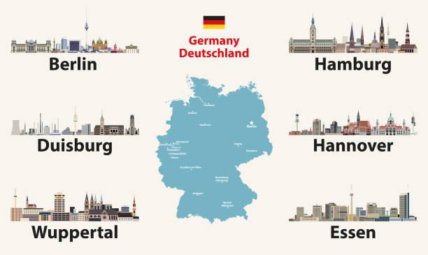 deutschlandkarte mit den größten städten skylines ikonen. vektorabbildung - hannover stock-grafiken, -clipart, -cartoons und -symbole