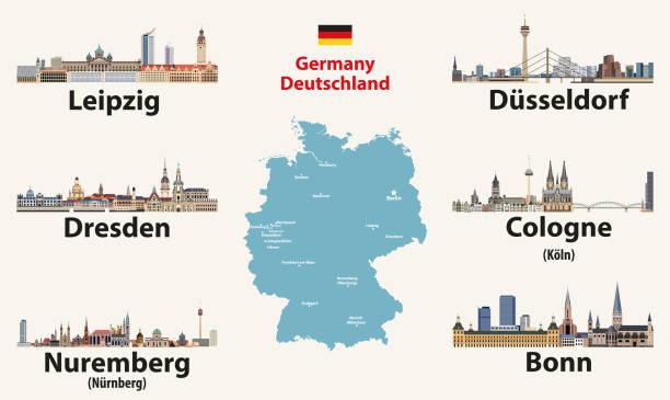 bildbanksillustrationer, clip art samt tecknat material och ikoner med tyskland karta med största städer horisonter ikoner. vektor illustration - germany map leipzig